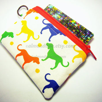 sale Rainbow of Dogs, women wallet, small padded pouch, zipper coin purse, id1340783, portefeuille, moneybag, cosmetic toiletry, id case