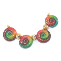 Ombre elegant beads, color gradient spiral beads with tiny gold dots, polymer Clay beads in red, orang and green, set of 4