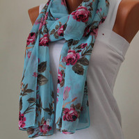 Mother Days gift,Floral Printed Scarf,Chiffon scarf,Floral scarf,blue scarf,printed scarf,gift ideas,Mother days gift,fall fashion,
