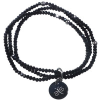 Stretch Bracelet Triple Handcrafted Glass Beads with Stainless Steel Dragonfly Tag (Black)