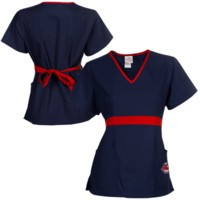 Cleveland Indians Womens MLB Solid Wrap Scrub Top with Pockets - Navy Blue