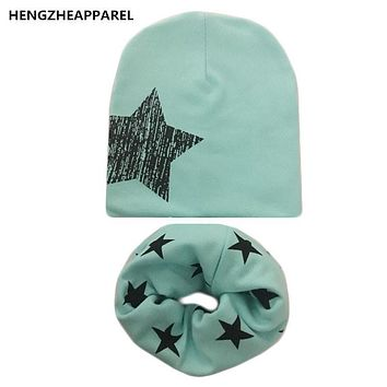 2017 new star print baby beanie+scarf sets boys girls children spring autumn wear caps collars suits kids hats scarves accessory