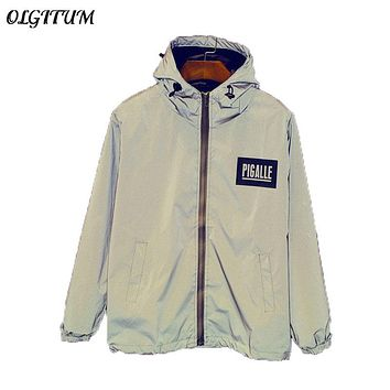 HOT SALE!2017 NEW Men 3M Reflective Jacket Raincoat Outerwear Windbreaker Thick Hooded Jackets Coats Jacket Fashion