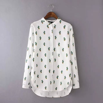spring 2016 fashion cactus print women shirts stand collar long sleeve female brief all match blouses and top lady
