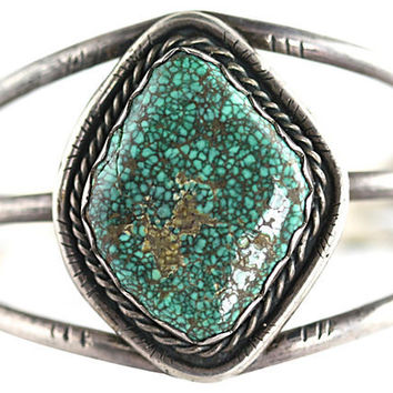 Navajo Spider-Web Turquoise Bracelet Sterling Silver Cuff