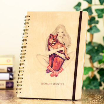 Writing Journal, Woman Art Journal, Cute Animals Notebook, Puma Notebook, Woman Secrets Journal, Wooden Notebook, Wood Art Journal, Puma Art