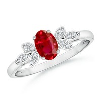 Vintage Inspired Oval Solitaire Ruby Ring