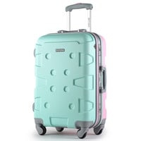 High quality Fashion 20 24 inches Candy color suitcase 100% ABS+PC spinner Travel rolling luggage business password Boarding box