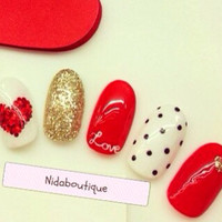 Sweet hearts and polka dots fake nails 10g nail glue included