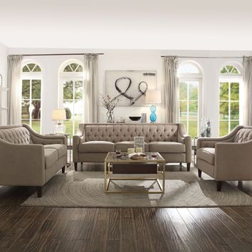 Acme 54010-11 2 pc Suzanne beige fabric tufted backs sofa and love seat set