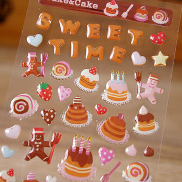Birthday cake sticker gingerbead Sweet time baking Sticker handmade cake crystal seal lable deco gift bag tag diary