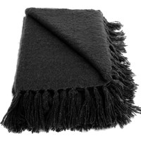Liz Black Faux Mohair Throw