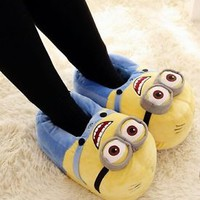 Women Cute Winter Warm Slippers Lady Soft Plush Antiskid Shoes Indoor Home