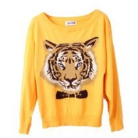 Chic and loose - Vobaga New Women's Japan Fashion Girls Crewneck Long Sleeve Tiger Head Knitting Tops Sweater