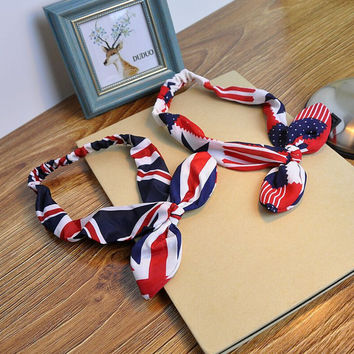 American Flag Hairband Rabbit Ears Knotted Headband