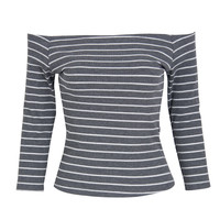 Grey Off Shoulder 3/4 Sleeve Stripe Print Tight T-shirt
