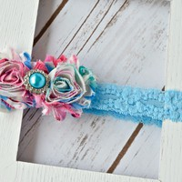 Flower garden, double shabby chic headband on light blue lace elastic band with pearl embellishment. Your Final Touch Hair Accessories