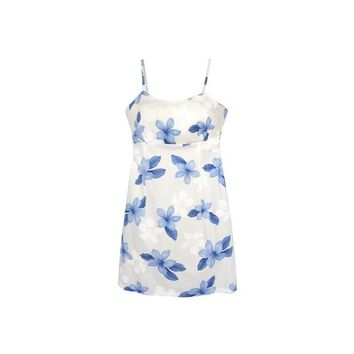 Delight Blue Short Hawaiian Skinny Strap Floral Dress