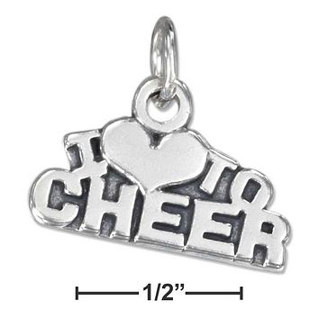 "Sterling Silver Charm:  Antiqued ""i Heart To Cheer"" Charm"