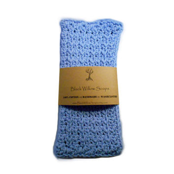 Handmade Crochet 100% Cotton Washcloth, Cornflower, Housewarming Gift, Kitchen Cloth, Bath Cloth