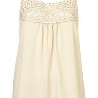 Cream Cornelli Trim Strappy Vest - View All - Tops - Topshop USA