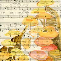 Whimsical Mushroom Watercolor Painting on Vintage Sheet Music, Yellow and Orange Mushrooms Painted on Old Fashioned Music, Beautiful Nature