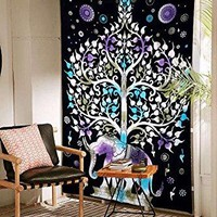 Purple Blue Tree of Life Fabric Tapestry