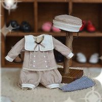 YOSD BJD 1/6 Khaki Sailor Top, Pants, Socks & Hat Set