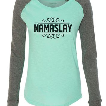 "Womens ""Namaslay"" Long Sleeve Elbow Patch Contrast Shirt"
