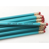 Get Your Shit Together Pencil Set in Turquoise