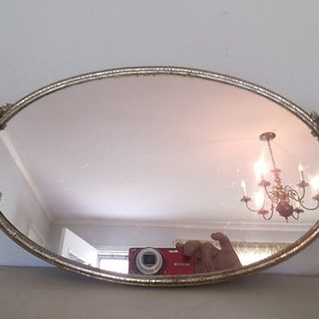 Vintage oval Dresser mirror Tray ~ Roses ~ Shabby Chic vintage Patina ~ Metal with ornate details