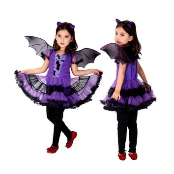 Holiday Fancy Masquerade Party Batman Little purple bat female  Girl Costume Children Cosplay Dance dress up for Kids Clothing