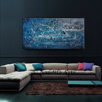 """SALE - Large ABSTRACT PAINTINGS, Red Wall Art Jackson Pollock Modern Art on Canvas, Contemporary Art 48"""" Abstract Oil Art Blue Home Decor"""