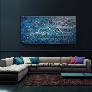 "SALE - Large ABSTRACT PAINTINGS, Red Wall Art Jackson Pollock Modern Art on Canvas, Contemporary Art 48"" Abstract Oil Art Blue Home Decor"