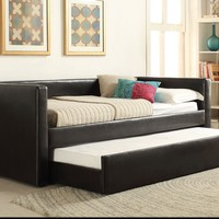 Aelbourne collection black faux leather upholstered day bed with pull out trundle