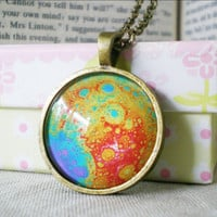 Planet Necklace Moon Photograph Glass Pendant by FantasticDIY