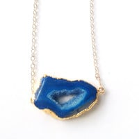 Ania Blue Sliced Geode Stone Necklace