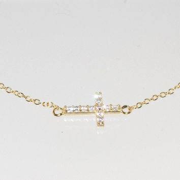 925 Silver Yellow Gold Plated Sideway Cross Necklace Cubic Zirconia, 16.5""