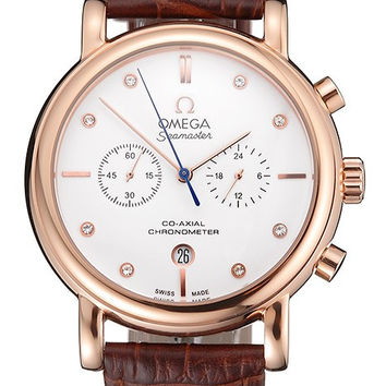 Omega Seamaster Vintage Chronograph White Dial Diamond Hour Marks Rose Gold Case Brown Leather Strap