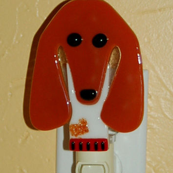 Fused Glass Piebald Dachshund Night Light - white & tan - SOLD - taking orders