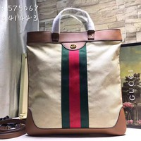 HCXX 19Aug 872 Gucci 575067 Double G Logo Zipper Retro Canvas Shoulder Tote Shopper Bag 41-44-3cm