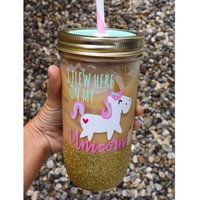 I Flew Here On My Unicorn // Mason Jar Tumbler // Personalized Tumbler // Glitter Dipped Tumbler // Unicorn Tumbler