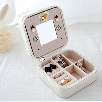 Mini Cosmetic Leather Jewelry Box Necklace Ring Storage Case Organizer Display With Mirror