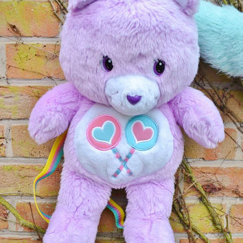 RARE Vintage Retro 1983 80s Plush Care Bear Share Bear Rainbow Kawaii Pastel Lilac Collectible Teddy Soft Toy Backpack Rucksack Bag