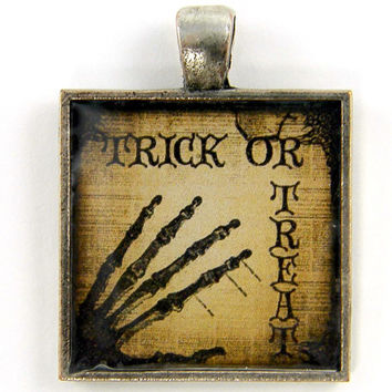 Halloween Pendant - ON SALE Trick or Treat Skeleton Hand Spooky Sepia Brown Black Silver Resin Jewelry