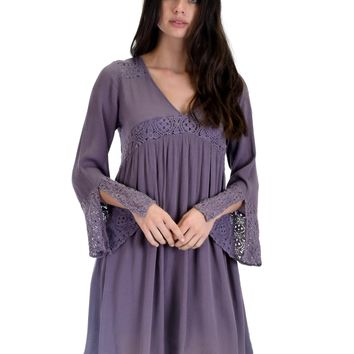 SL3624 Lilac Grey Long Bell Sleeve Dress With Lace Contrast