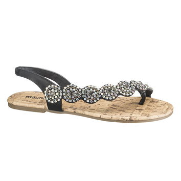 Black Joy Rhinestone Sandal - Black