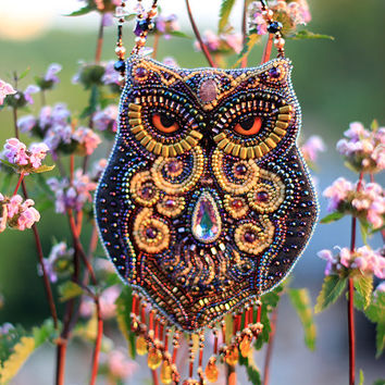 Fabulous amethyst owl. Beaded necklace with owl. Necklace Bead Embroidery Art