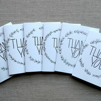 "Set of six black and white ""Thank You"" notecards, black and white wedding thank you cards, black and white blank thank you cards with wreath"