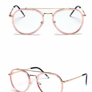 Clear Aviator Glasses - Pink